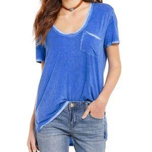 We The Free Blue Oversized Burnout Pocket T-Shirt